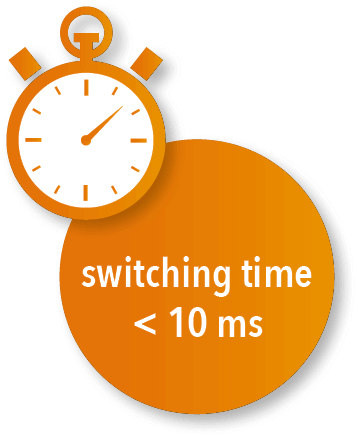 Rapid switch-over time < 10ms